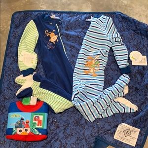3 pairs of boys pj's 2 w/feet (4T) and 2 piece 5T